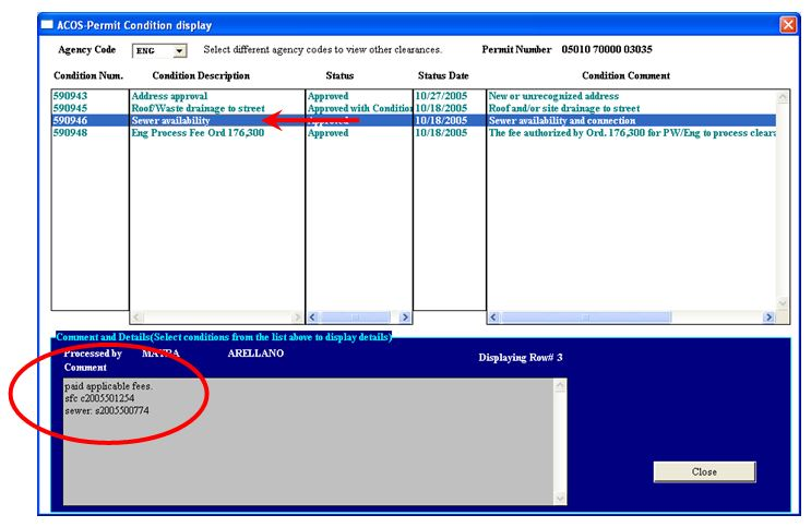 Automated Certificate of Occupancy Screen Shot of Permit Condition Comments
