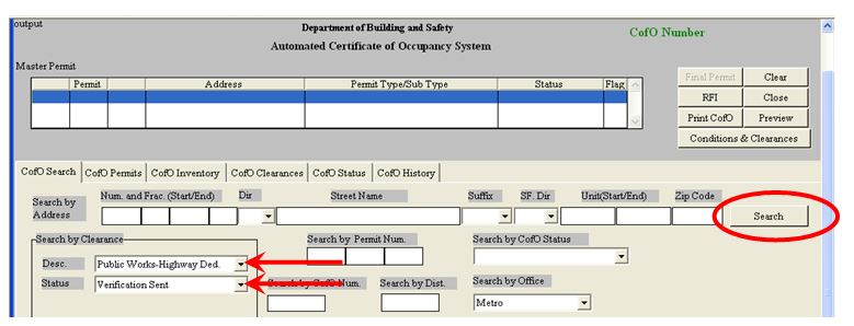 Automated Certificate of Occupancy Screen Shot of Search Feature
