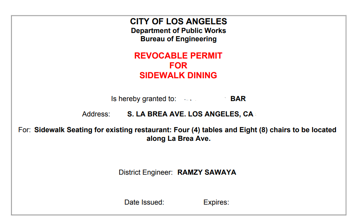 Revocable Permit for sidewalk dining