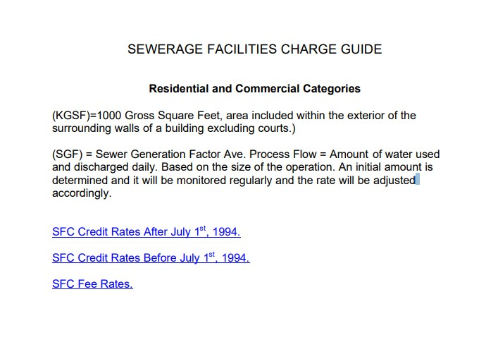 Screen shot of a Sewerage Facility Charge Guide
